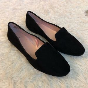 H&M black suede scalloped flats shoes